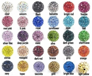 Glitter Bling Ball Basic Colour Chart